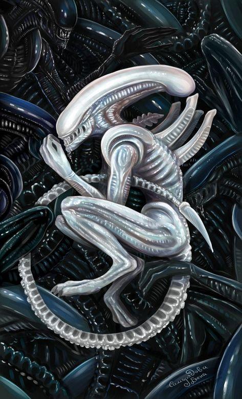 """Xenomorph Alien Sci-Fi Art Print - """"Albino Alien"""" - by Lena Samoryadova"""