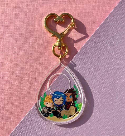 """""""2\"""" Single Sided Clear Acrylic Keychains with Gold plated Heart or Star Keyring Choose From: Destiny Trio Wayfinder Trio Seasalt Trio Full Set"""""""