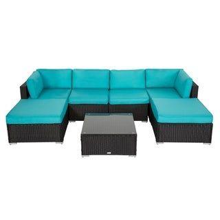 Kinbor 7 Piece Outdoor Furniture Cushioned Rattan Wicker Sofa Set