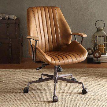 Acme Furniture Hamilton Top Grain Leather Office Task Chair Brown Leather Office Chair Leather Office Chair Acme Furniture