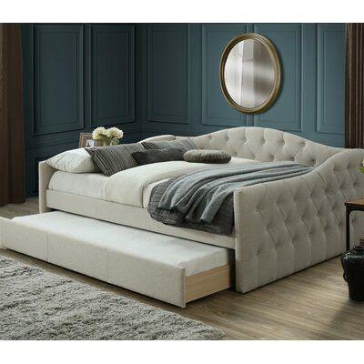 House Of Hampton Hollandsworth Queen Day Bed With Trundle In 2021 Queen Daybed Trundle Bed Daybed With Trundle Queen bed with mattress included