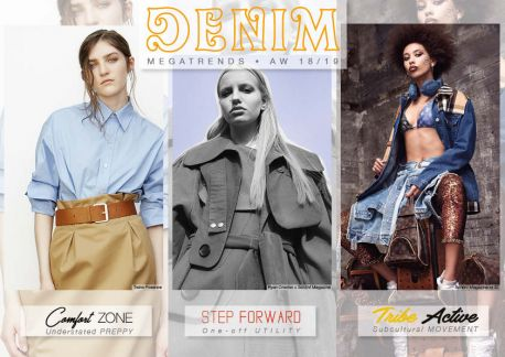 FW DENIM mega trends by Comfort Zone/ Understated Preppy, Step Forward/ One-off Utility, Tribe Active/Subcultural Movement.