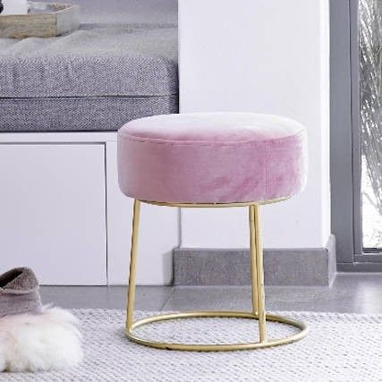 Admirable Pink Velvet Stool With Gold Base Room Seating In 2019 Cjindustries Chair Design For Home Cjindustriesco