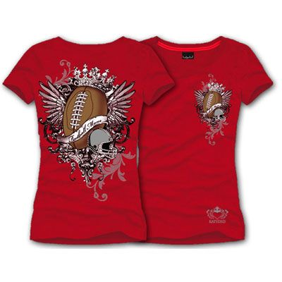 """Red S/S FOOTBALL MOM T-Shirt       New Sports Mom Design!     Show support for your favorite teams     """"Football Mom""""     Round Neck     Shortsleeve fitted cotton lycra t-shirt     Football design on front & back with rhinestones     MADE IN THE USA     Katydid Collection"""