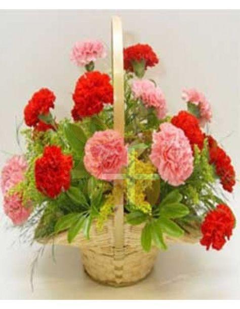 Carnation Arrangement In Basket Send Flower In Bangladesh Flower Shop In Bangladesh Flower Gift In Bangladesh Mim Flower Gift Carnation Flower Pink Basket