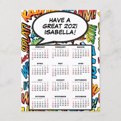 Comic Book Pop Art Speech Bubble 2021 Calendar Holiday Postcard Zazzle Com In 2020 Holiday Calendar Holiday Postcards 2021 Calendar