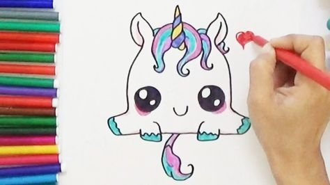 How To Draw A Super Cute And Easy Unicorn Youtube With Images