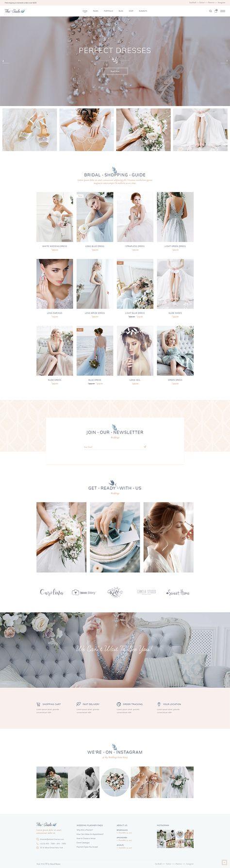 Build an amazing online presentation for your wedding shop with The Aisle WordPress theme!  #wordpress #webdesign #websitedesign #designinspiration #wedding #celebration #weddingplanner #weddingwebsite #weddinginspiration #weddingbusiness #weddingday #weddingphoto #feminine #elegant