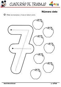 Trabajando En Educacion Infantil Otras 10 Fichas Del Numero 7 Actividades De Nombres En El Preescolar Matematicas Fichas