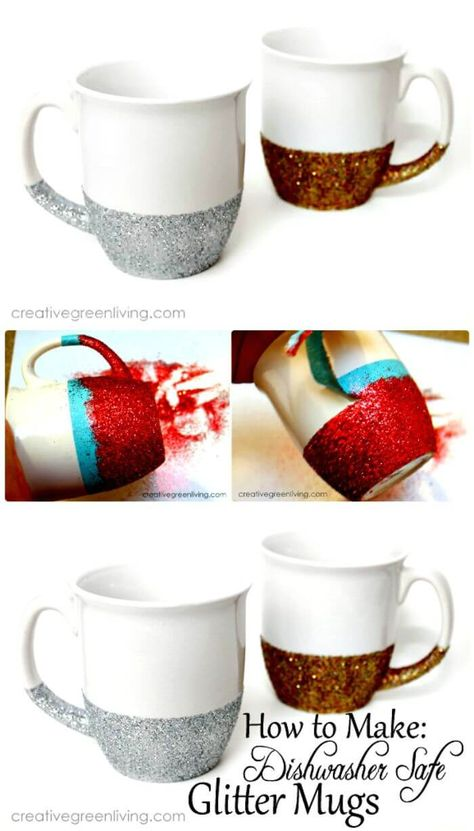 How to Make Dishwasher Safe Glitter Dipped Mugs - 240 Easy Craft Ideas to Make and Sell - Page 9 of 24 - DIY & Crafts