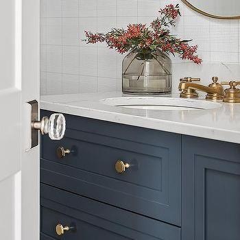 Navy Blue Bath Vanity With Antique Brass Vintage Faucet Decor Brass Hardware Bathroom Home Decor