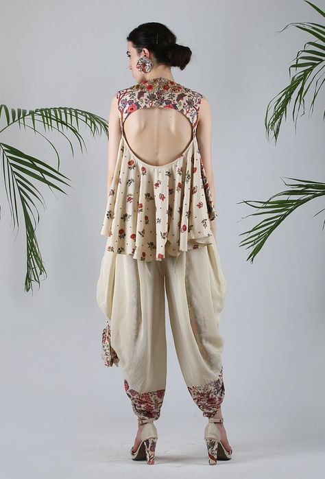 Lilly Special Edition Jaal Printed Cotton Top In Ivory. Ivory Crepe Dhoti With Jaal Printed Front Panel.