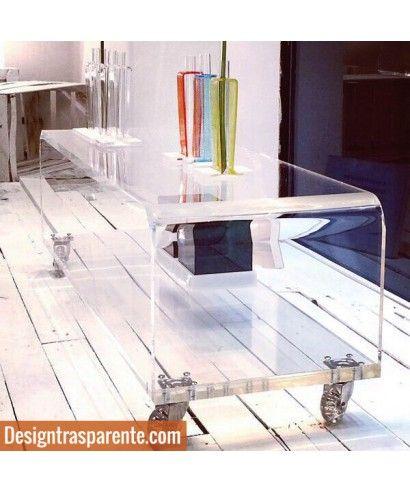 Mobile Porta Tv Plasma.Carrello Porta Tv In Plexiglass Trasparente Alto Spessore Per