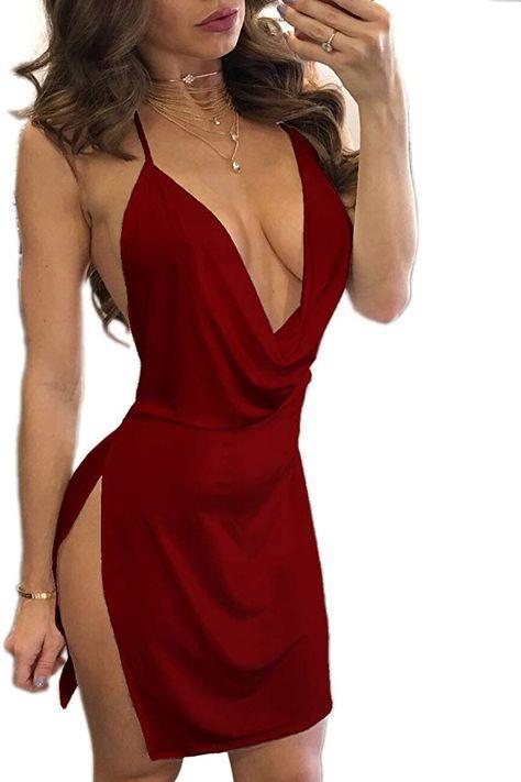 Damen Rückenfrei Bodycon Ärmellos Strandkleid Minikleid Sommerkleid Abendkleider