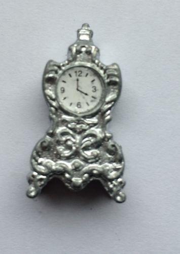Dolls House Miniatures 1.12 Scale Mantle Silver Mantel Clock