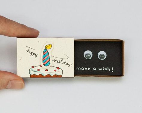 This listing is for one matchbox. This is a great alternative to a Birthday card. Surprise your loved ones with a cute private message hidden in these beautifully decorated matchboxes! Each item is hand made from a real matchbox(*). The designs are hand drawn, printed on paper and then #manualidades