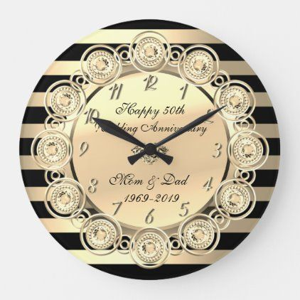 Gold Stripes Diamonds 50th Wedding Anniversary Large Clock Zazzle Com 50th Wedding Anniversary Wedding Anniversary 50th Wedding