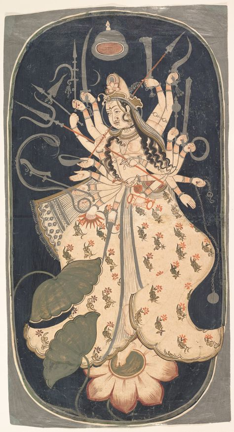 Mahadevi, the Great Goddess Date: ca. 1725 Culture: India (Rajasthan, Bikaner) Medium: Ink, opaque watercolor, and silver on paper