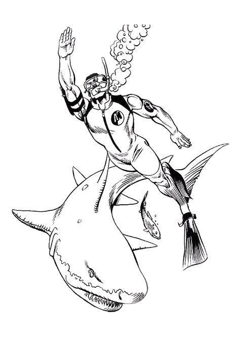 Coloriage Requin Plongeur Sur Hugolescargotcom Hugolescargotcom