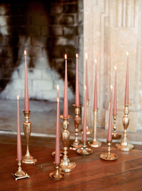 Gold candlesticks next to the fireplace with pink candles Blue By Enzoani, Gold Candles, Wedding Decorations, Table Decorations, Event Decor, Candlesticks, Wedding Table, Just In Case, Marie