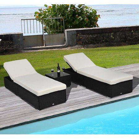 Outsunny 3 Piece Wicker Patio Chaise Lounge Set Outdoor Adjustable Rattan Reclining Chairs With Cushions And Side Table White Walmart Com Patio Chaise Lounge Wicker Chaise Lounge Chaise Lounge Chair