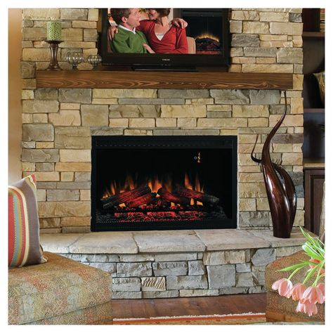 Biskoupky Traditional Electric Fireplace Insert Built In