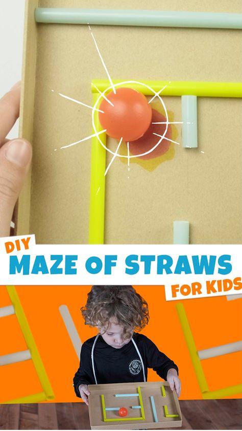 DIY Maze of Straws for Kids