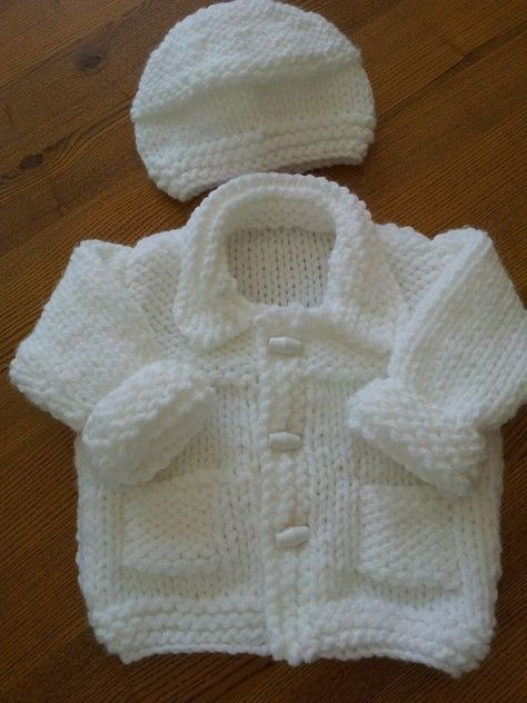 Simple Style Baby Cardigan and Hat pattern by Lion Brand YaFree Knitted Baby Sweater Patterns myFree knitting pattern for premBaby Jacket and H ko hiatThis Pin was discovered by Jul