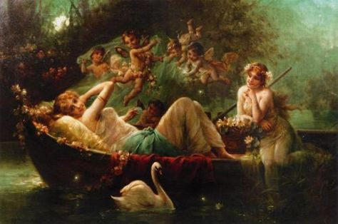 She Wore Flowers in Her Hair (Day XVIII):'The Enchanted Boat Ride' - Hans Zatzka.