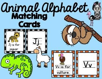 Animal Alphabet Matching Cardsincluded Are Images Of Animals That Start With Every Letter Of The Alphabet Stu Alphabet Matching Animal Alphabet Matching Cards