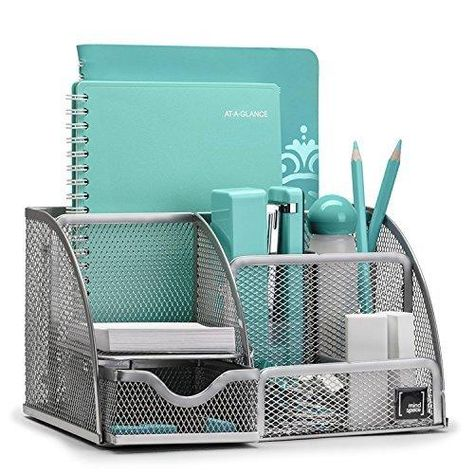 Mindspace Office Desk Organizer with 6 Compartments + Drawer | The Mesh Collection - Silver