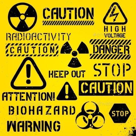 Set Of Warning Hazard Symbols By Sergt Graphicriver Hazard In 2020 Hazard Symbol Biohazard Symbol Sticker Design