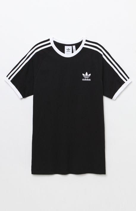 adidas 3 Stripes Black Ringer T Shirt | Marque vetement