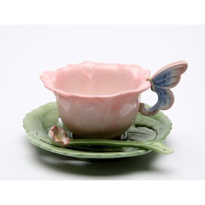 Rose 6 - Pcs Set ( 2 Each Of Cup & Saucer & Spoon ) Size: Plate: 5 in.H Cup: 5 in. x 4 in. x 3 in.H Spoon: 4 in.H Enjoy this exquisite item from Cosmos Gifts. Ceramic Pottery, Pottery Art, Ceramic Art, Keramik Design, Ideias Diy, Cute Mugs, Pretty Mugs, Clay Crafts, Clay Art
