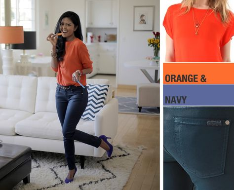 Color blocking is easy & oh so fun! Just pair colored denim with a bright top. We love this navy & orange combo!