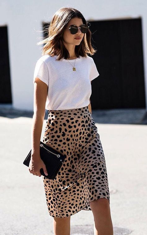 Leopard skirt and white tee shirt.