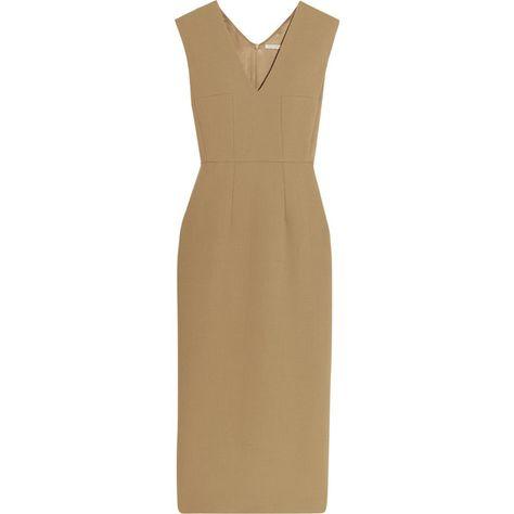 Emilia Wickstead Ferni wool-crepe midi dress ($625) ❤ liked on Polyvore featuring dresses, brown, midi dress, woolen dress, mid calf dresses, brown midi dress and calf length dresses