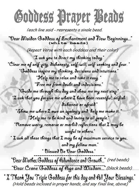 Book Of Shadows Bos Goddess Prayer Beads Page This Prayer Is Done With A Strand Containing A Bead For The Maiden Go Book Of Shadows Wiccan Crafts Spell Book