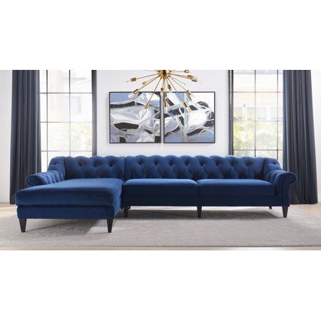 Alexandra Tufted Right Sectional Sofa Navy Blue Walmart Com Sectional Sofa Sofas For Small Spaces Sectional Couch