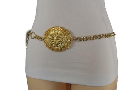 Gold Metal Chains Hip Waist Chunky Belt Big Medusa Head