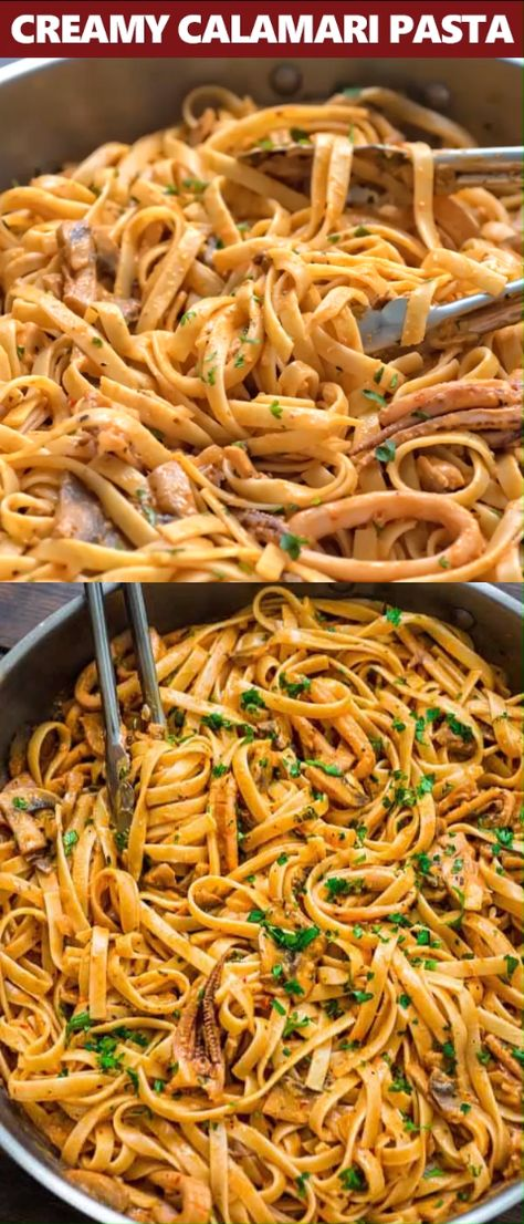Tender calamari rings cooked in flavorful mushroom and roasted pepper sauce, and mixed with fettuccine pasta. This Creamy Calamari Fettuccine is my favorite seafood dish! #pasta #seafood #calamari #dinner #squid