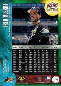 1998 Pacific Revolution Shadow Series 140 Fred Mcgriff Back