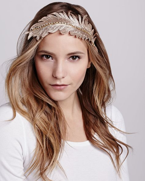 Colette Malouf Embroidered Feather Headband 063f665b71d