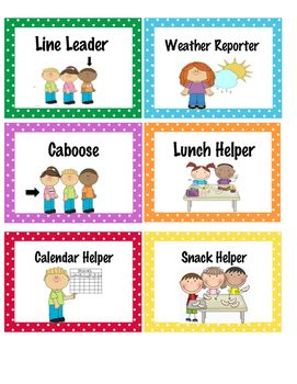 Line Leader Weather Reporter Caboose Lunch Helper Snack Helper And Cale Classroom Helpers Preschool Classroom Rules Community Helpers Preschool Activities