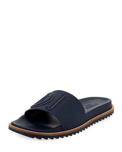 6e6d0c4a FENDI RUBBER SLIDE SANDALS W/ RAISED LOGO DETAIL. #fendi #shoes ...