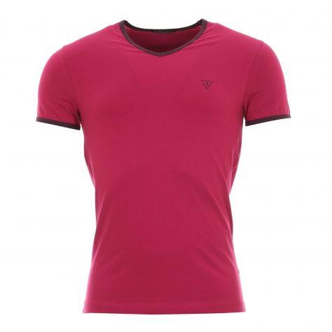 85c1ce9f9d2 Tee-shirt Guess Col V cerise col et manches à contraste
