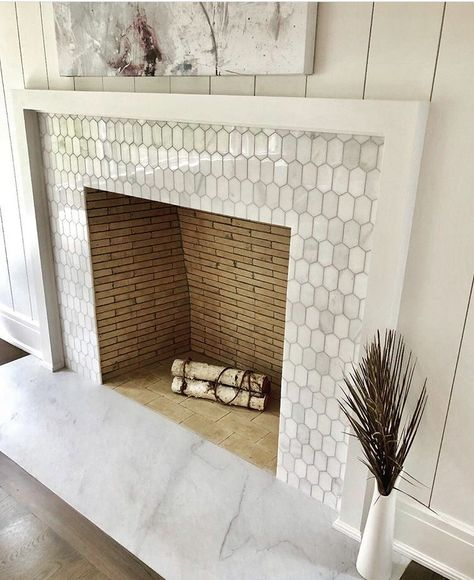 [New] The 10 All-Time Best Home Decor (Right Now) - Apartment by Jennie Cross - Another beautiful fireplace just in time for the winter lovely job - happy we could help! Tile Around Fireplace, Fireplace Tile Surround, Fireplace Update, Brick Fireplace Makeover, Marble Fireplaces, Fireplace Remodel, Fireplace Surrounds, Mosaic Tile Fireplace, Modern Fireplace Tiles