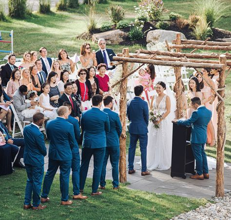 Rustic outdoor wedding ceremony situated between the lake and the woods | Photo: Jim Lee Vision | Flowers: Buds of Brooklyn #RockIslandLakeClub #wedding #weddings #weddingvenue #weddingvenues #NJwedding #NJweddings #NJweddingvenue #bridetobe #weddingceremony #ceremonyarchway #outdoorceremony #lakesidewedding #lakesideceremony #bride #weddingplanning #diywedding #weddinggoals #lakefrontweddig #weddinginspo #weddingideas #rusticwedding #elegantwedding #naturewedding #weddingplanning #bridetobe