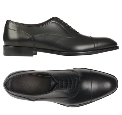 Canali 1934 Black Calf Leather Balmoral Oxford Dress Shoes New With