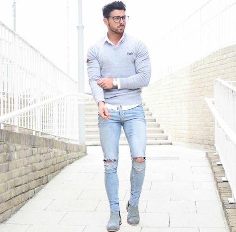 Men's Street Style - Casual Ripped Jeans Look